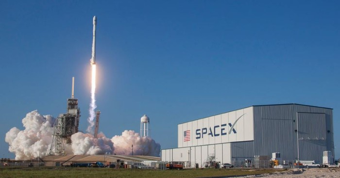 SpaceX SES-10 Falcon 9 rocket at liftoff.