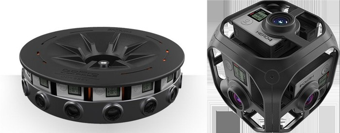 GoPro's Odyssey (L) and Omni (R) VR rigs.