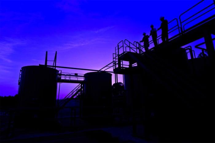 A Denbury facility at night.