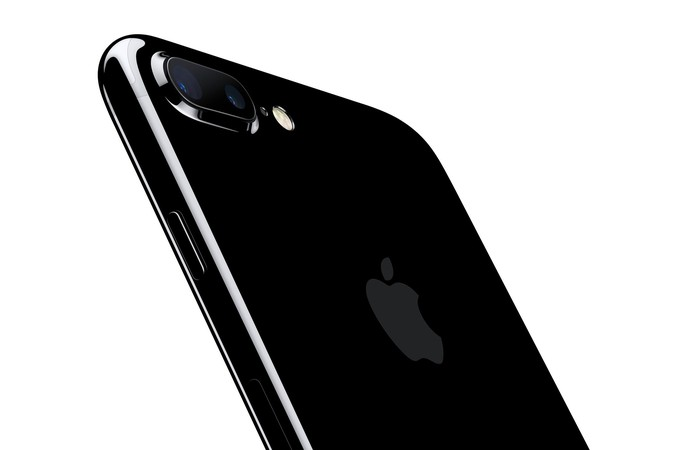 An iPhone 7 Plus in jet black.
