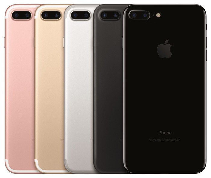 Apple's iPhone 7 Plus lineup in five different colors: Rose gold, Gold, Silver, Black, and Jet Black.