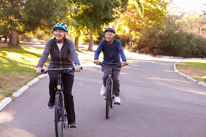 Older couple on bike ride