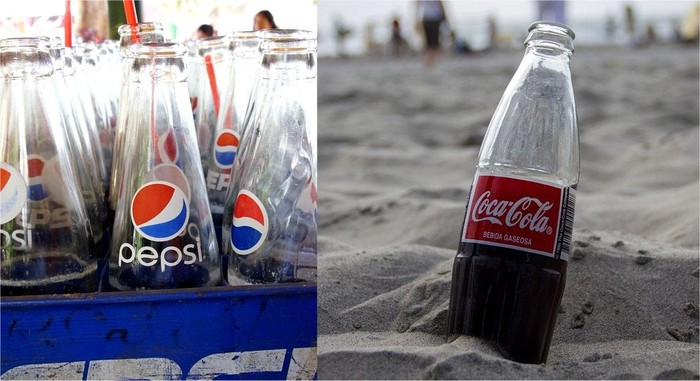 Bottles of Pepsi and Coca-Cola.