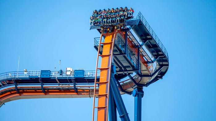 The first drop of a Cedar Point roller coaster.