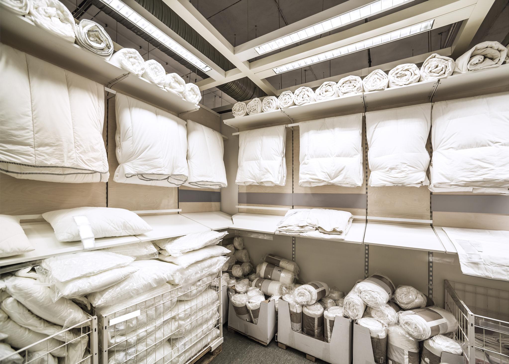 Home furnishings and bedding on display