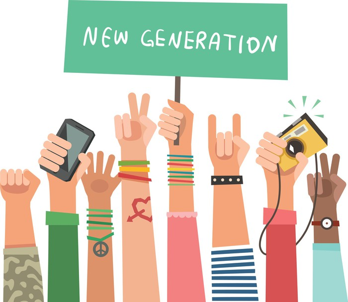 "Drawing of young peoples' hands in the air, with one hand holding up a sign that reads ""New Generation""."