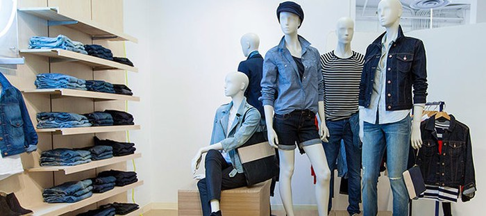 A display inside of a Gap store.