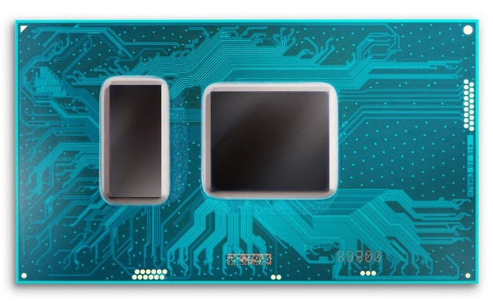 An Intel processor with two silicon dies on the same package.