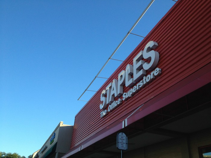 The exterior of a Staples store