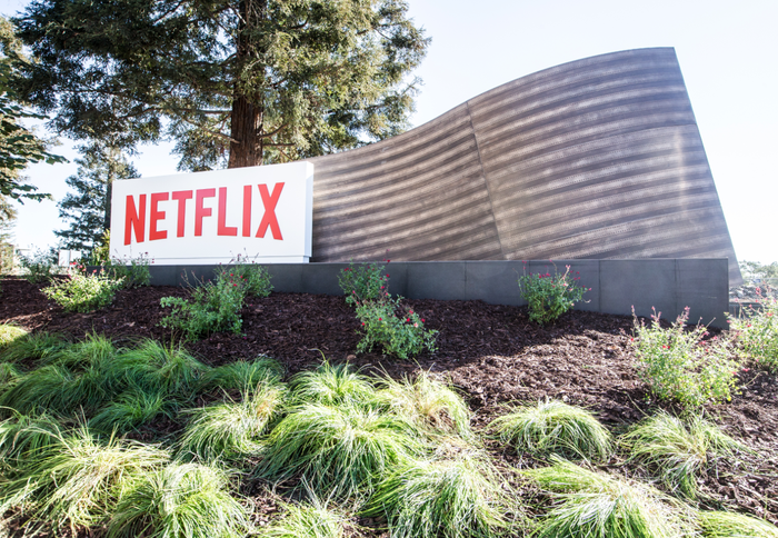 Netflix logo outside of headquarters.