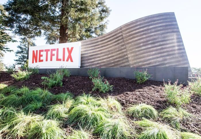 Netflix logo outside of headquarters.