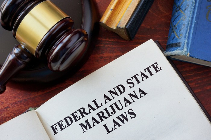 A judge's gavel next to a book containing federal and state marijuana laws.