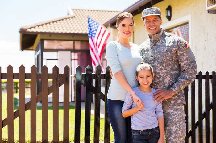 Military member with his family