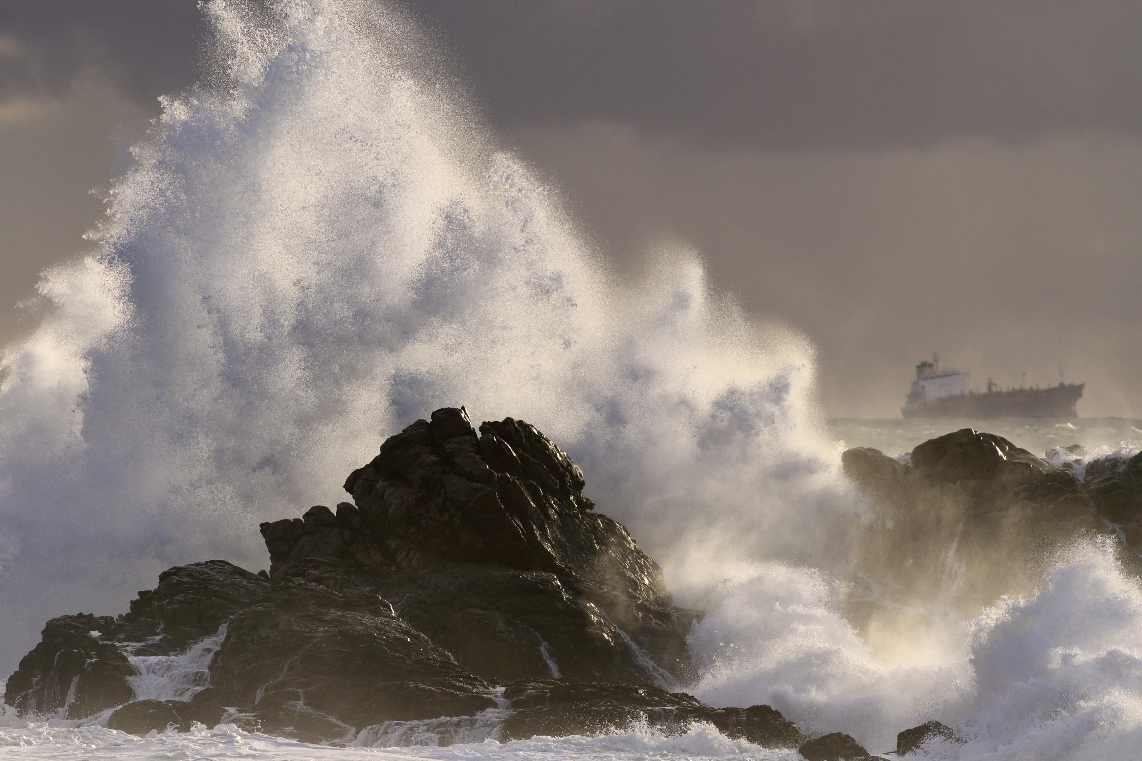 A storm at sea.