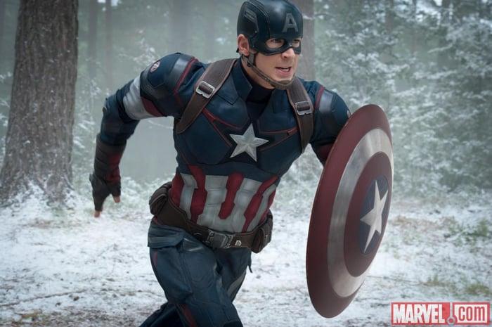 Captain America dashing through the snow.