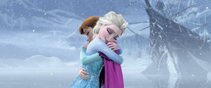 Disney princesses Elsa and Anna hugging