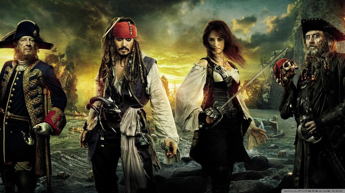 Poster featuring the cast of characters from Pirates of the Caribbean: Dead Man's Chest.