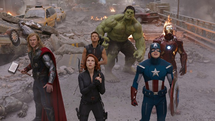 Earth's mightiest heroes facing the alien enemy.