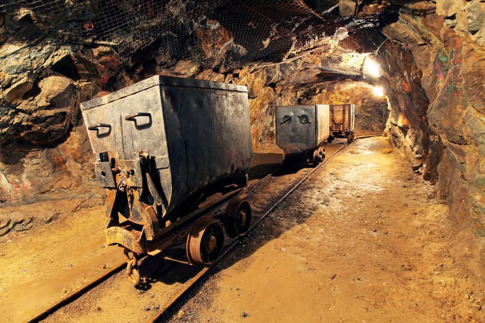 Inside of a gold mine.