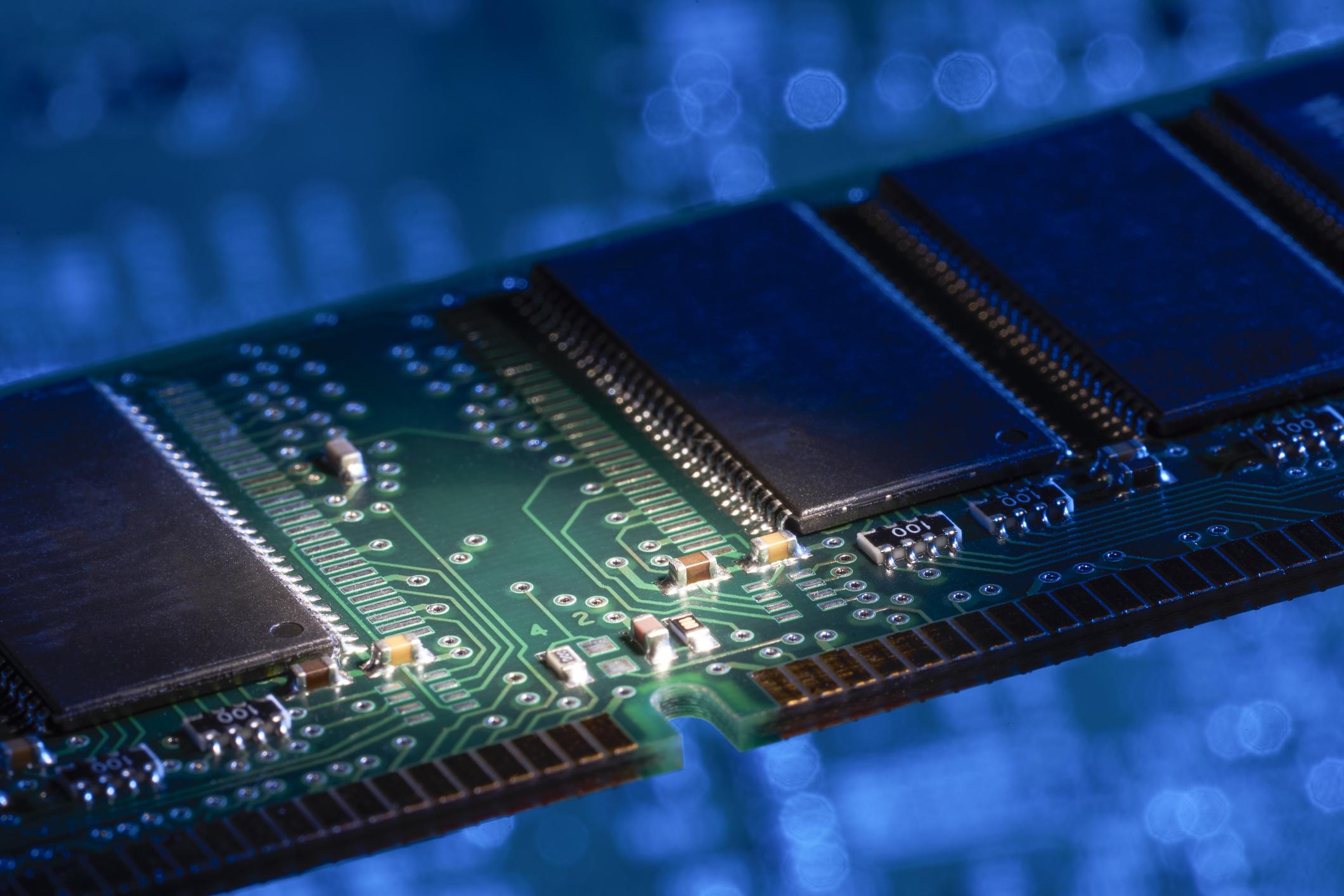 A closeup of a RAM chip.