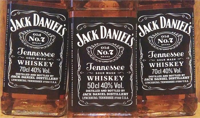 Three bottles of Jack Daniel's.