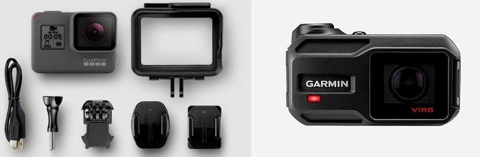 GoPro's Hero 5 (left) and Garmin's Virb X/XE action cameras (right).