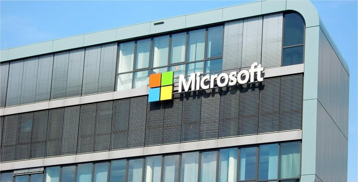 The exterior of a Microsoft building.