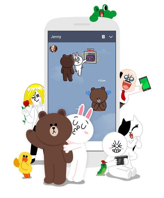 A conversation featuring stickers on LINE's mobile app.