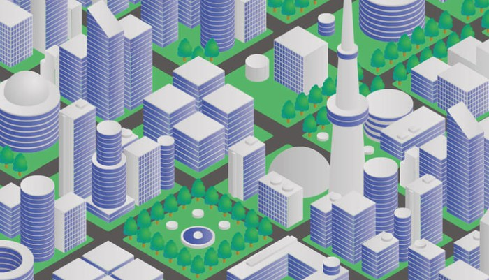 Abstract image of a smart city.