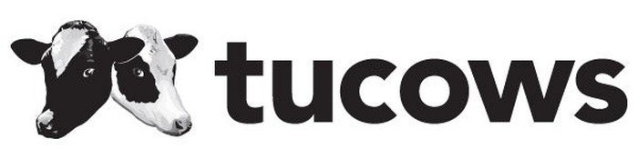 Tucows' logo, featuring the company name and the heads of two cows.