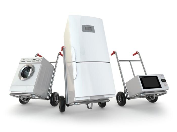 An assortment of appliances on handtrucks