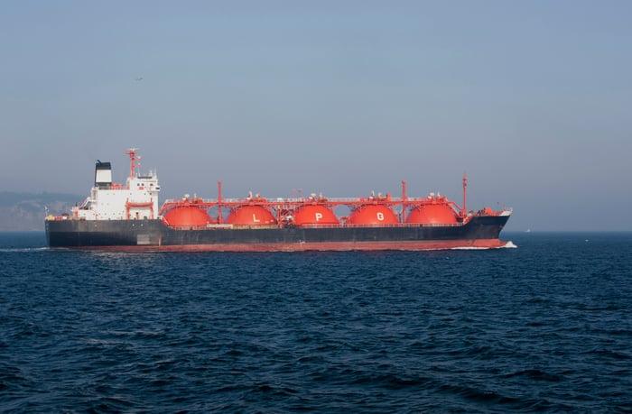 LPG tanker at sea.