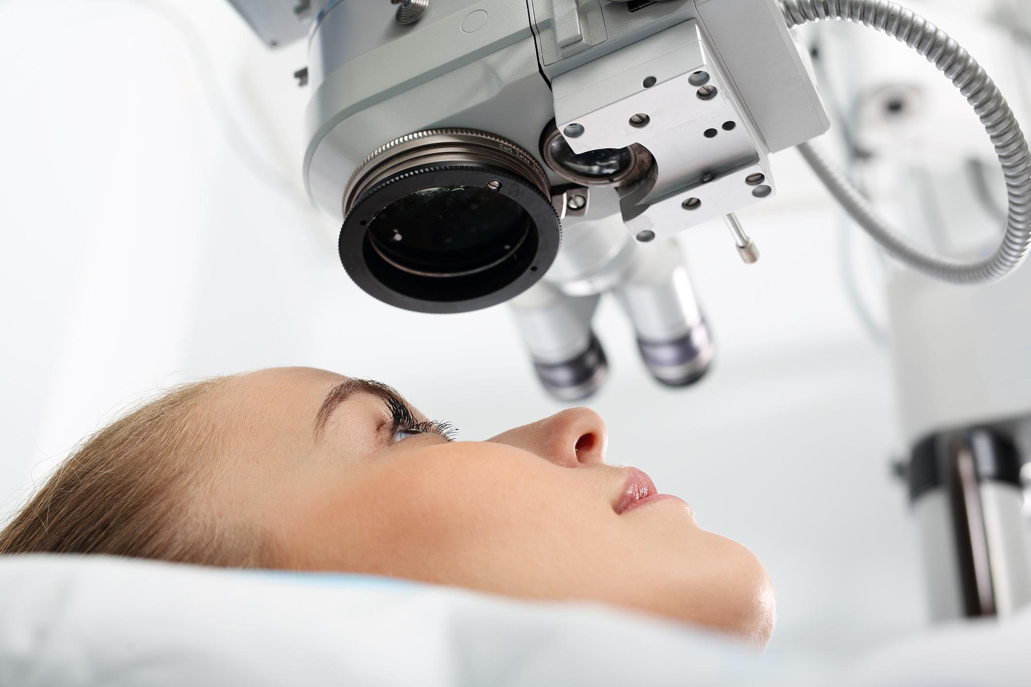 Patient undergoing eye surgery