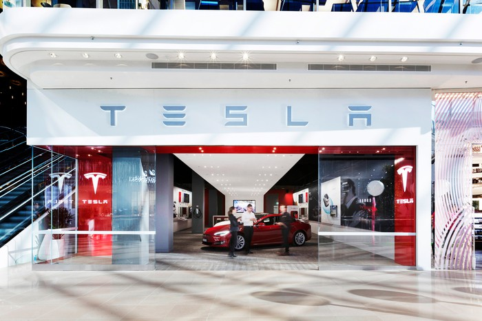 Looking into a Tesla store