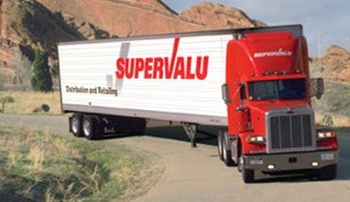 A Supervalu truck en route in a delivery