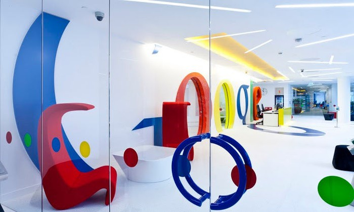 Playful Google logo in Alphabet's London office.