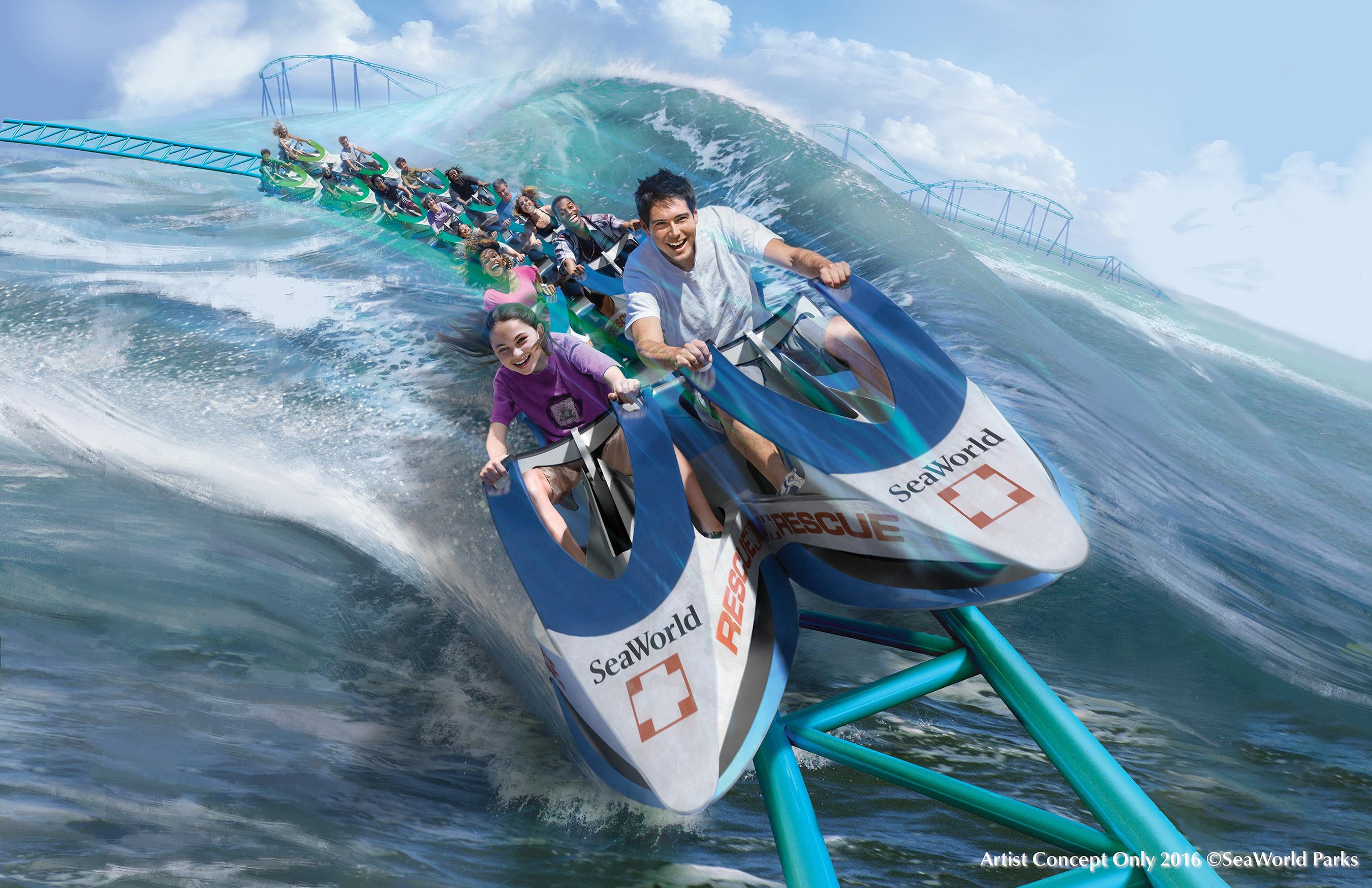 Concept art for a new coaster for SeaWorld San Antonio.
