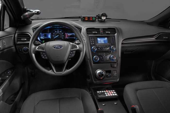 A view of the dash of Ford's new police vehicle.
