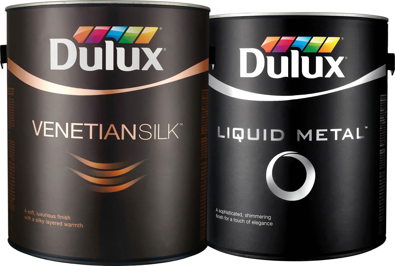 Dulux Venetian Silk paint cans.