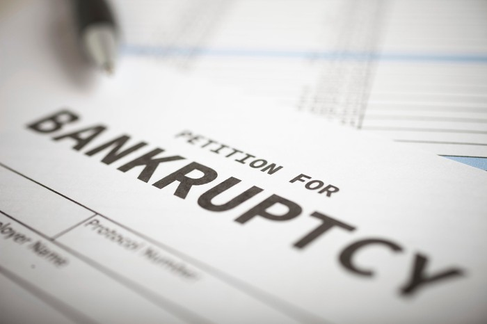 A closeup of a bankruptcy form.