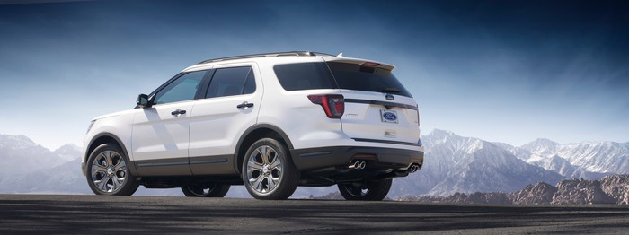 A rear three-quarter view of the 2018 Ford Explorer.