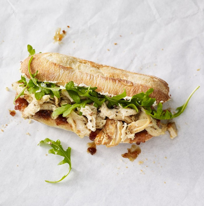 A new Starbucks lunch sandwich: herbed chicken and fig spread.