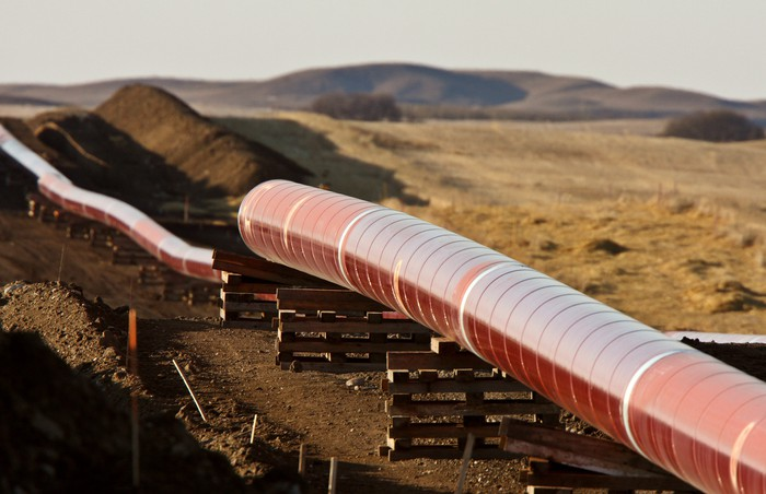Pipes laid out for a natural gas pipeline.