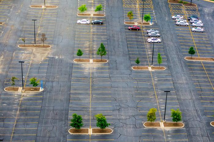 An empty parking lot.