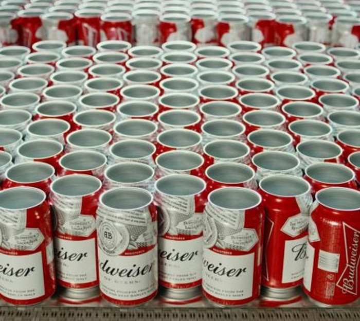 Cans of Budweiser waiting to be filled