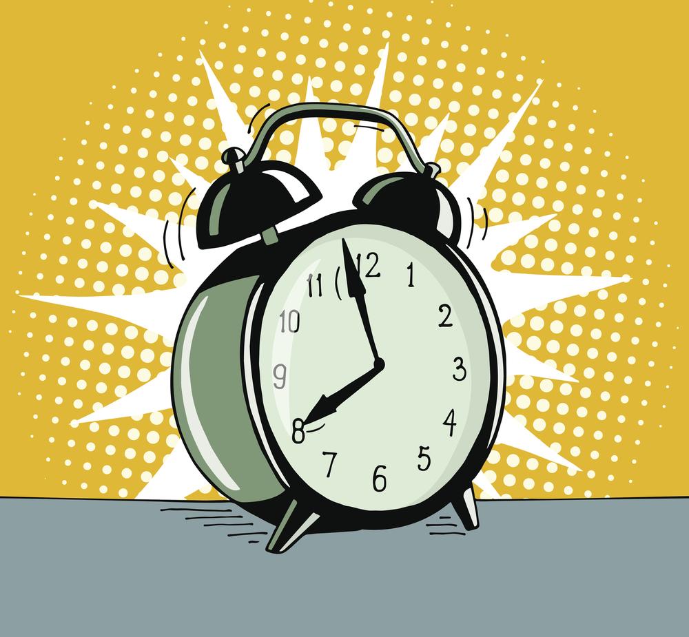 Pop-art cartoon of ringing alarm clock