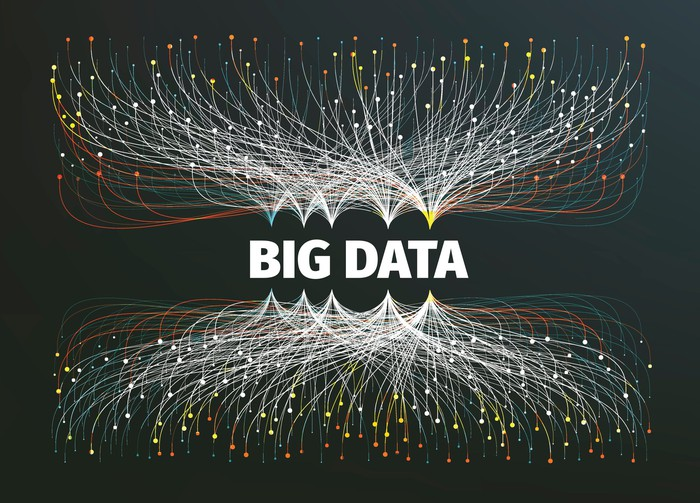 """The words """"Big Data"""" surrounded by connections to individual pieces of data."""
