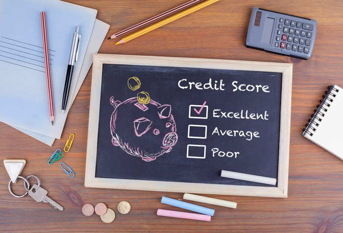 "Chalk board showing credit score rating, with ""excellent"" checked off"