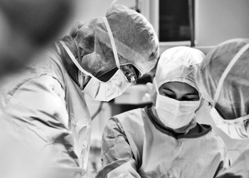 Surgical team - black and white photo