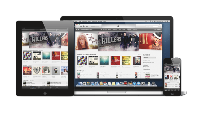 iTunes on an iPhone, iPad, and Mac